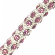 Hot Pink rhinestone silver plated reticulated chain